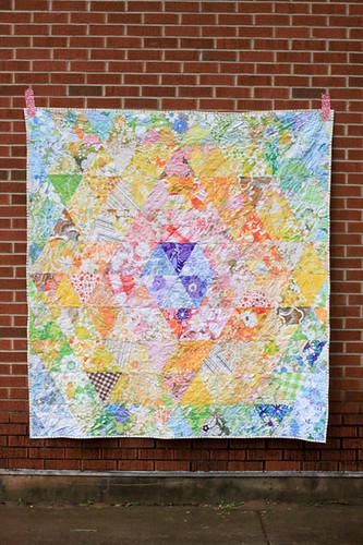 Vintage Sheet Patchwork Prism Quilt