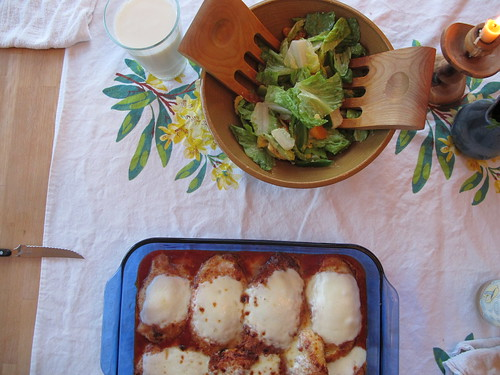 chicken parm and salad
