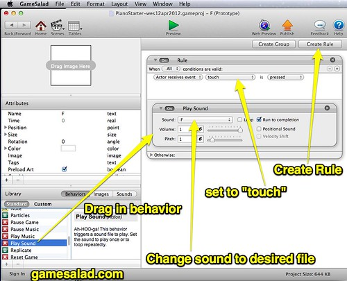Create Actor Behaviors in GameSalad