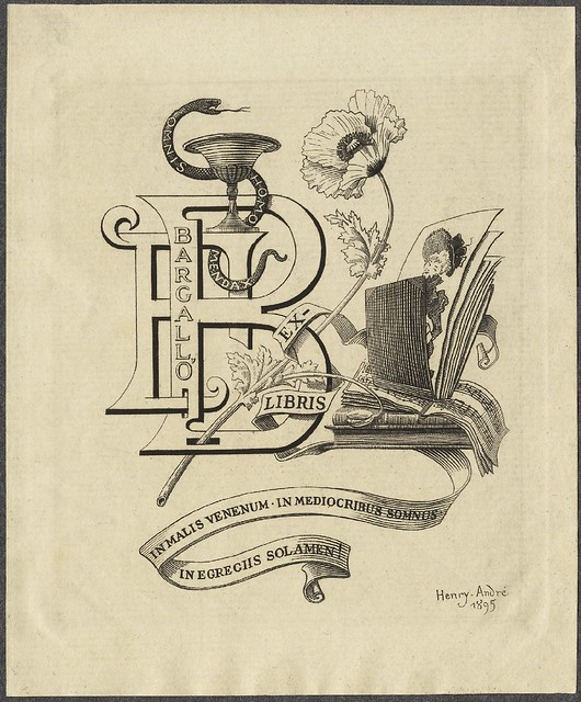 stylised bookplate : clutter of abstracted letter, pictures, books, flowers and ribbon
