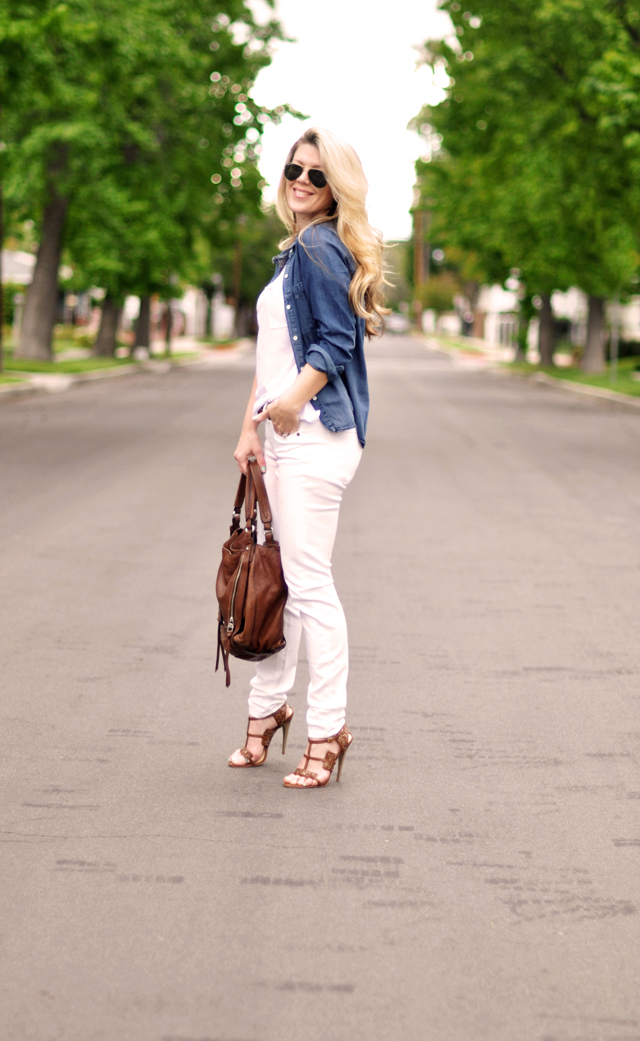 white jeans- denim shirt - brown accessories