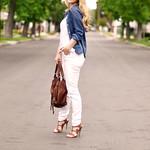 white jeans- denim shirt - brown accessories