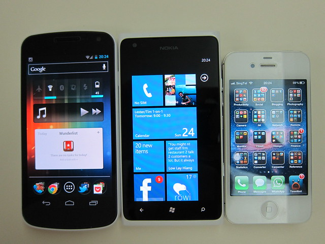 Three Phones That I Bring Out Everyday (Galaxy Nexus, Lumia 900, iPhone 4S) - Front View
