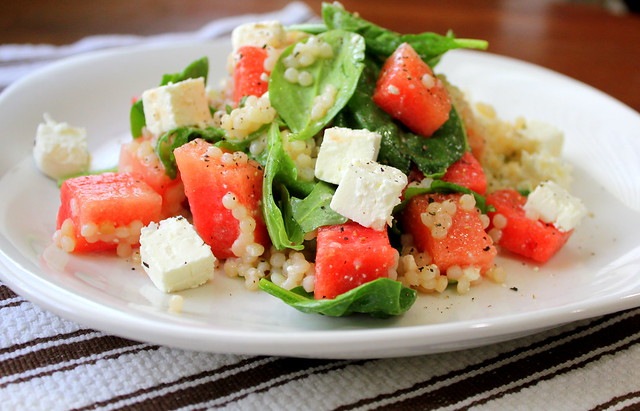 watermelon, couscous and feta