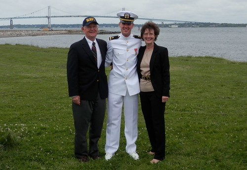 Ensign Joe Hilby '10 with parents Bruce Hilby and Puala Hilby