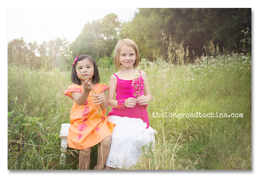 S and R in Orange and Pink on the bench BLOG