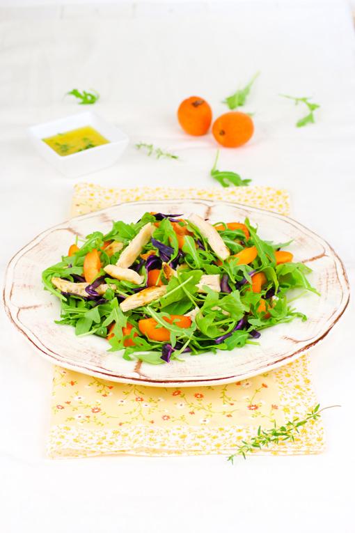 insalata di pollo e albicocche