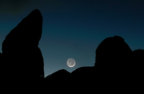 Just one-day-old moonset, Arches NP, Utah