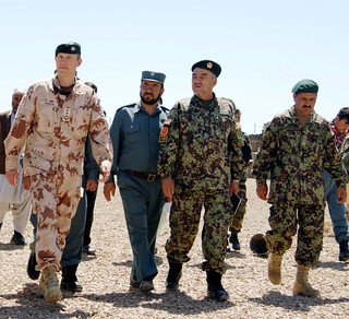 PRT commander Col Arturas Radvilas, Gen Asadulah Ulamiar and ANA Company commander. Courtesy ISAF Media.