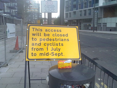 This access will be closed to pedestrians and cyclists from 1 July to mid-Sept. by LoopZilla