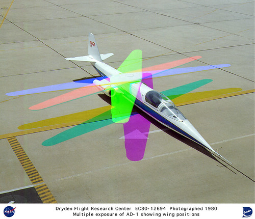 NASA photo - multiple exposure showing wing positions of AD-1