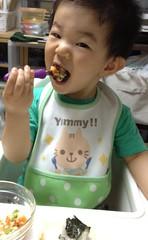朝御飯を食べるとらちゃん (2012/7/13)