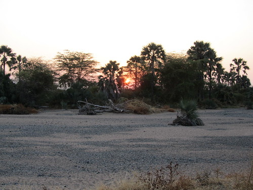 Sunrise across the dry riverbed by our camp