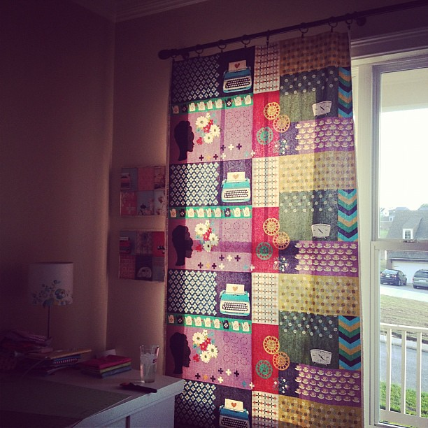 Hanging up my sewing room curtains made with awesome @missletterm fabric!!!