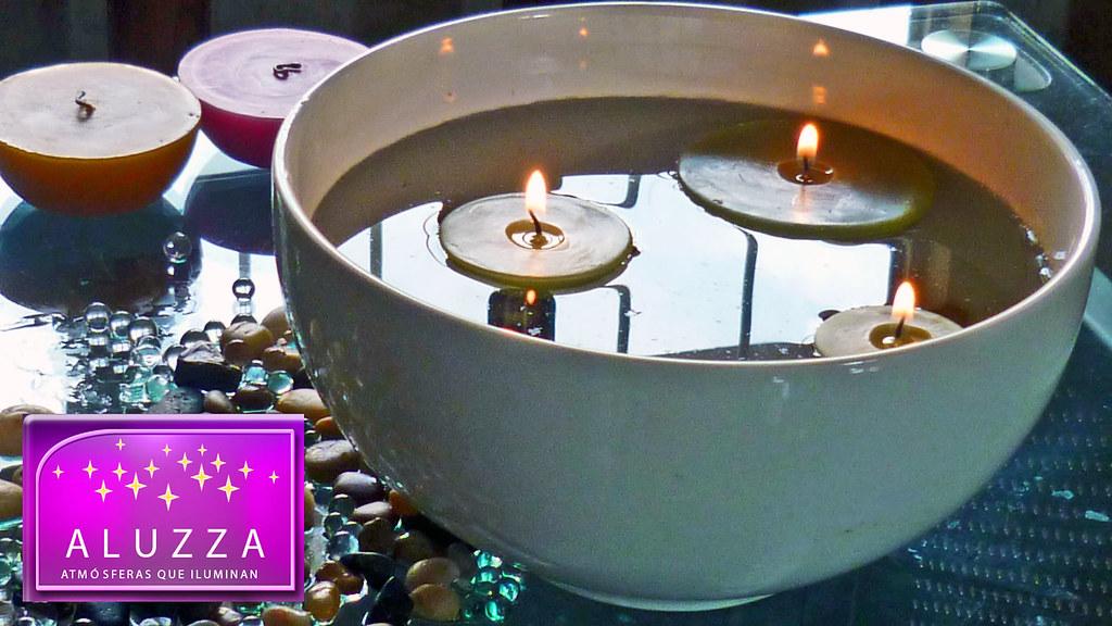 vela flotante para centro de mesa