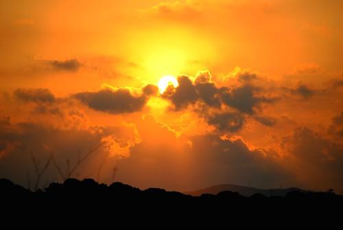 無料写真素材, 自然風景, 朝焼け・夕焼け, 空, 雲, 橙色・オレンジ