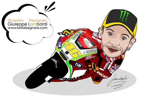 Caricatura Valentino Rossi by Giuseppe Lombardi
