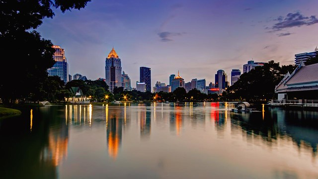 Postcard from Lumpini Park after Sunset | Bangkok