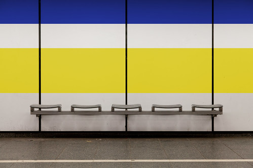 Seating Bench with Blue and Yellow Stripe