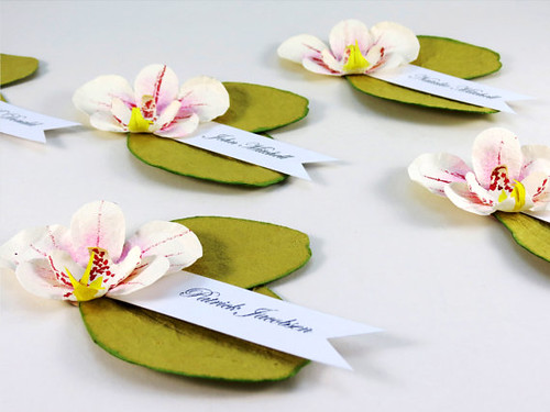painted paper orchid place cards