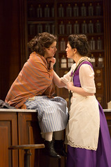 Rebecca Soler and Christina Pumariega in the Huntington Theatre Company production of Melinda Lopez's stirring new drama BECOMING CUBA directed by M. Bevin O'Gara, playing March 28 - May 3, 2014 at the South End / Calderwood Pavilion at the BCA. Photo: T. Charles Erickson