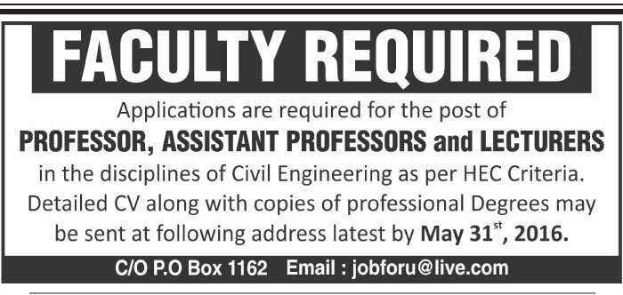 Faculty Required for University