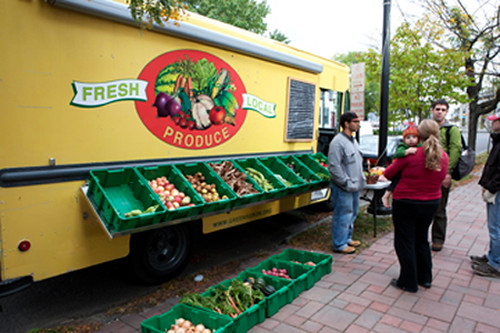 The Greensgrow Farms mobile food delivery system.  With the help of an FMPP grant, Greensgrow Farms has used this truck to supply residents of the Camden/Philadelphia area with fresh, healthy, affordable foods. (Photo courtesy of Greensgrow Farms)