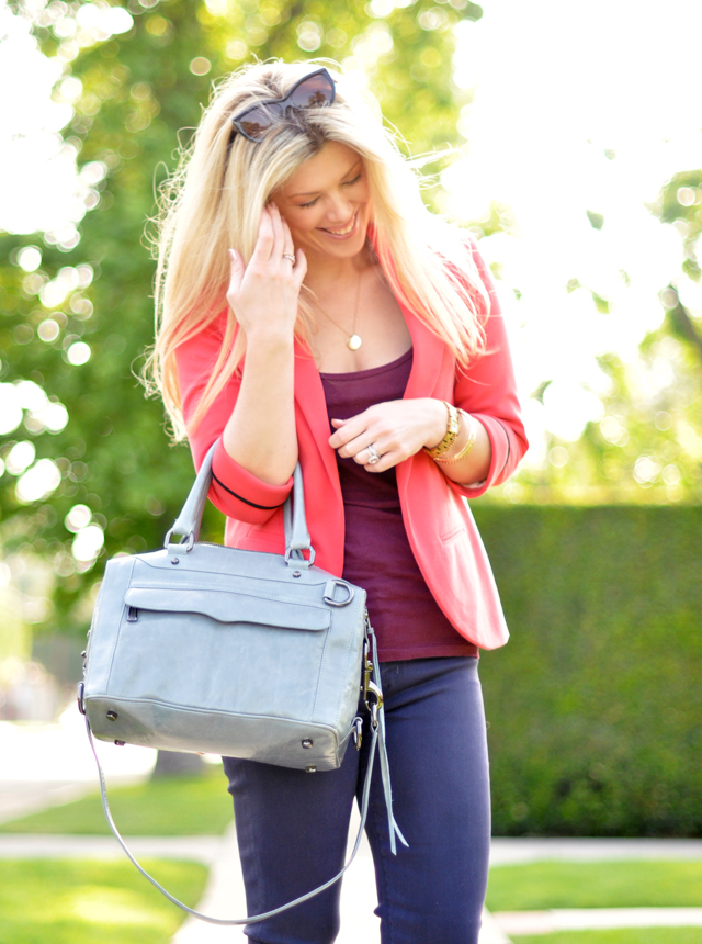 coral blazer-purple jeans-plum tank-blue gray bag