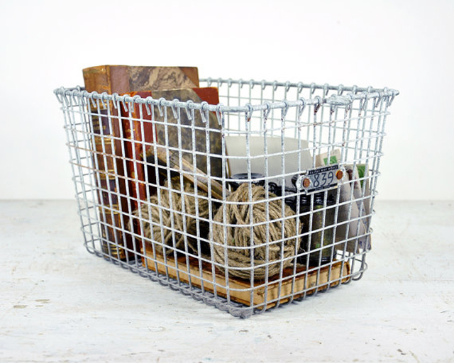 white washed metal basket for storage