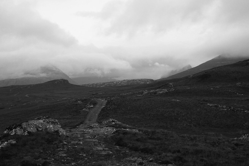 Swirling clouds around the Fisherfield Hills