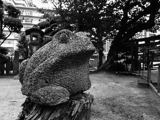Frog's stone statue.