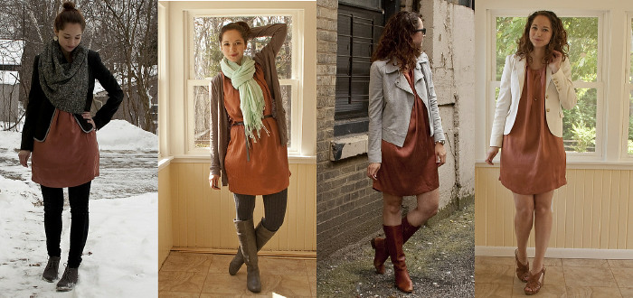 remix ideas, ootd, outfit posts, blogged, rust colored dress, joie dresses, orange dress