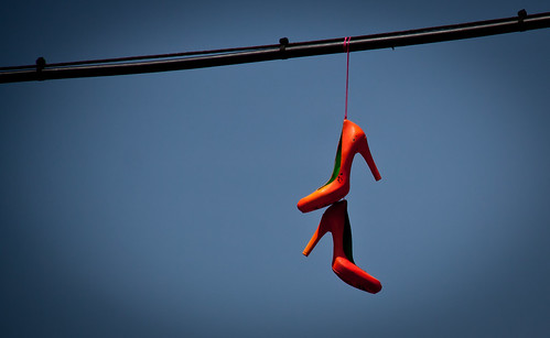 Orange High Heels on a Wire - Williamsburg, BK