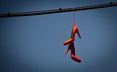 Orange High Heels on a Wire - Williamsburg, BK