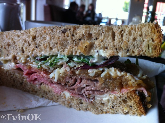 Rare roast beef sandwich at Electric