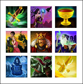 free Excalibur slot game symbols