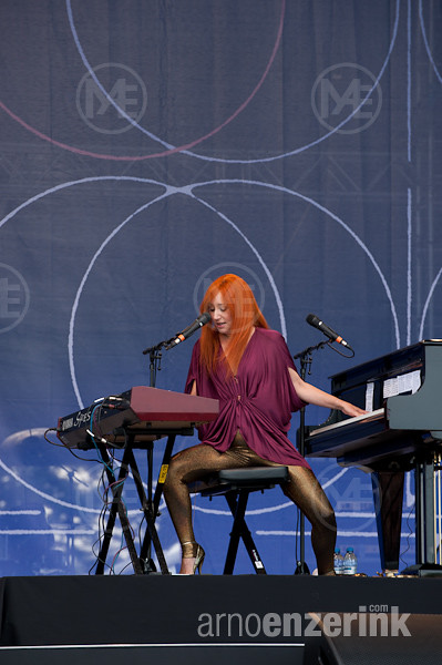 Tori Amos performing on stage in Kirjurinluoto Arena at jazz festival Pori Jazz in Pori, Finland ...