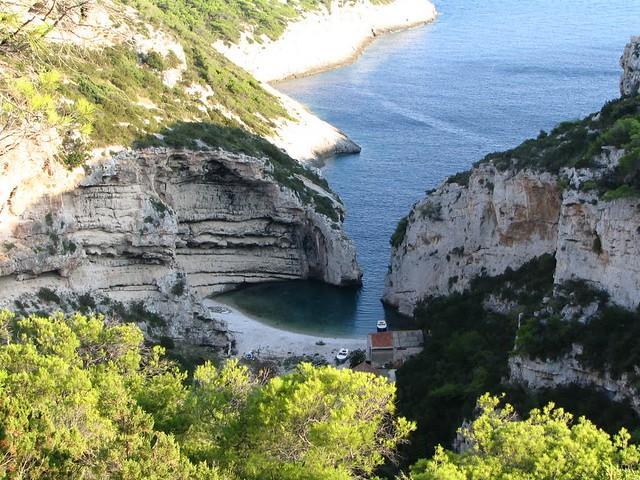 The Stiniva Cove at the island of Vis, Croatia