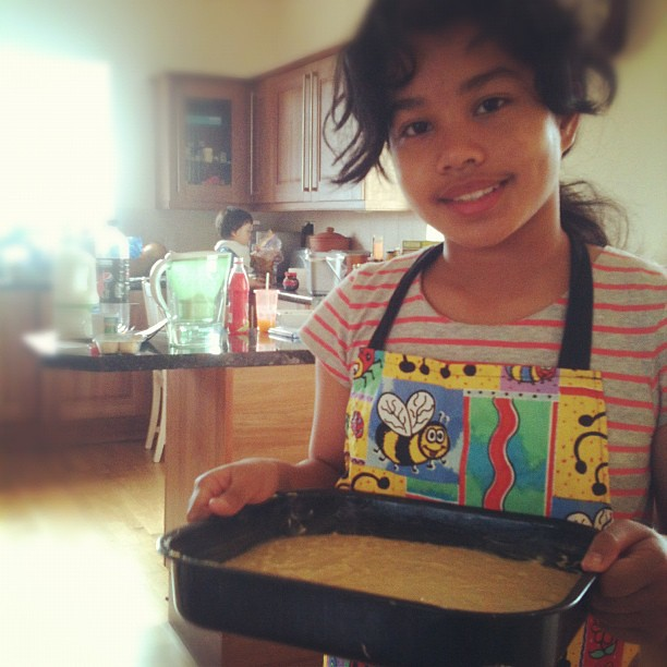 Baking banana bread on her own - it became one of her interest these days