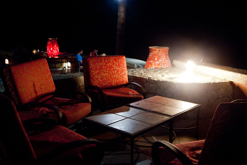 Outdoor terrace by the firepits