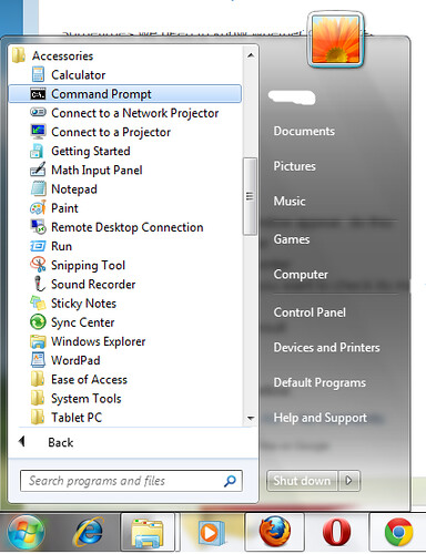 command prompt menu in win 7