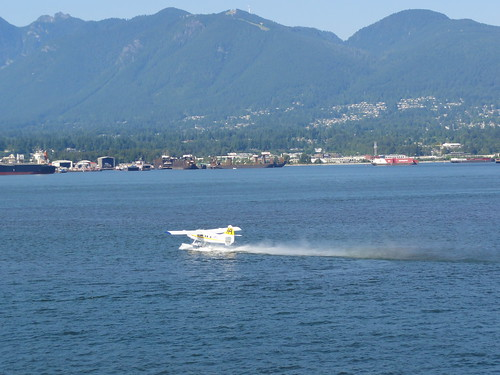 Sea plane taking off in Vancouver Harbour