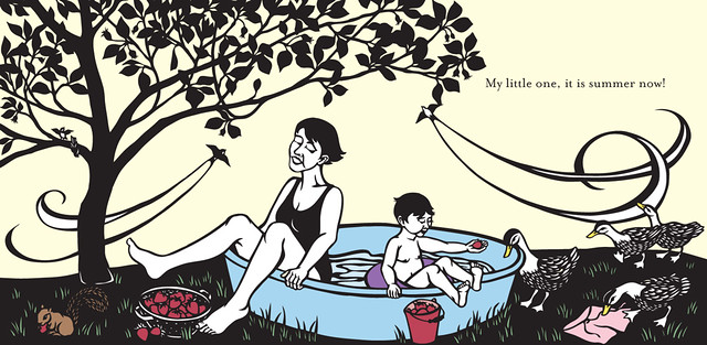 Nikki McClure print of mom and child in pool enjoying summer