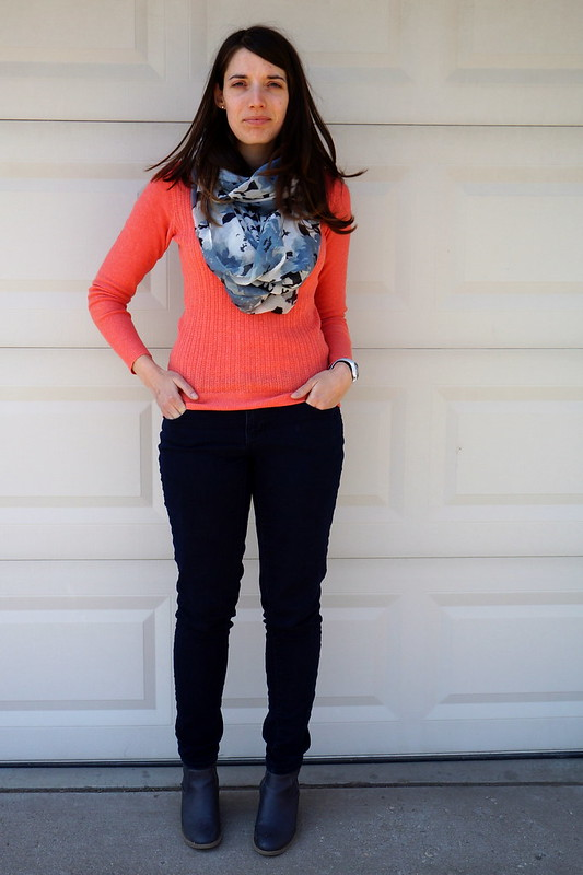 coral sweater and gray scarf