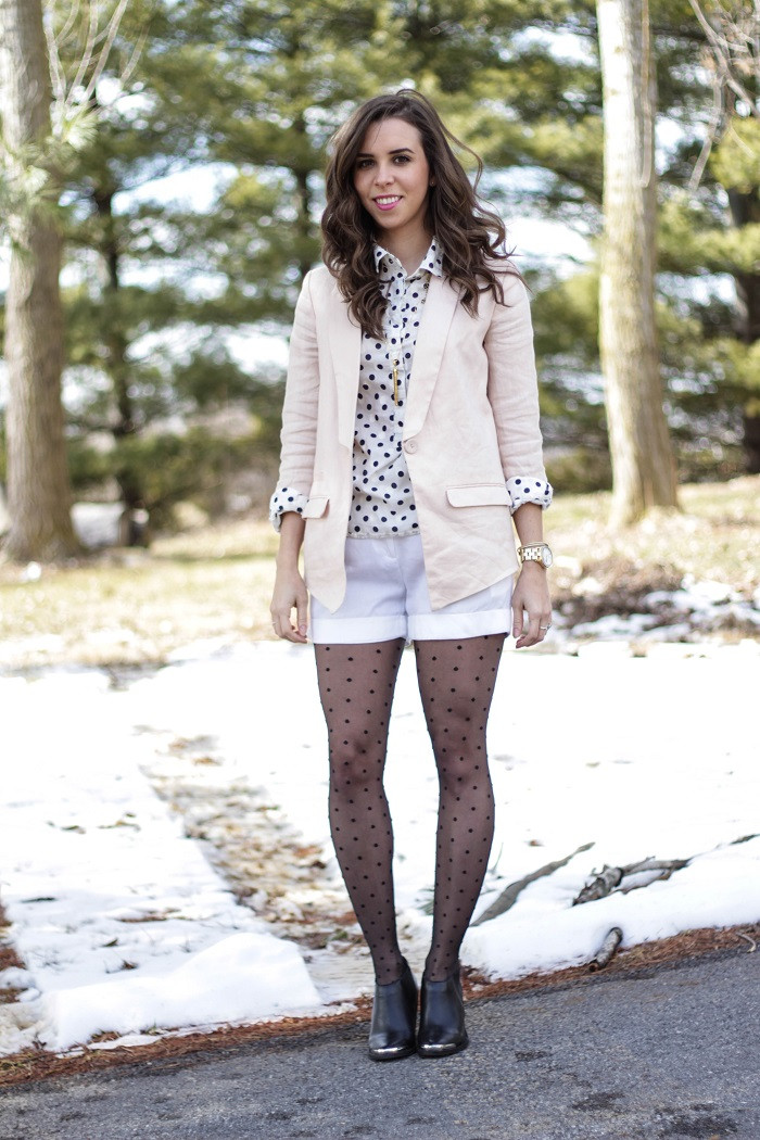 va darling. dc blogger. virginia personal style blogger. dc style.  polka dotted top. polka dotted tights. pink linen blazer. white shorts. black ankle booties. 3