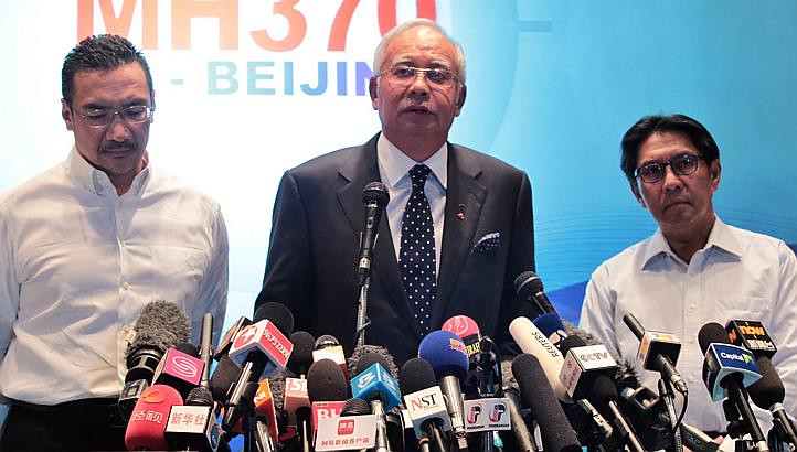 Malaysia Prime Minister Datuk Seri Najib Tun Razak making a press announcement on MH370