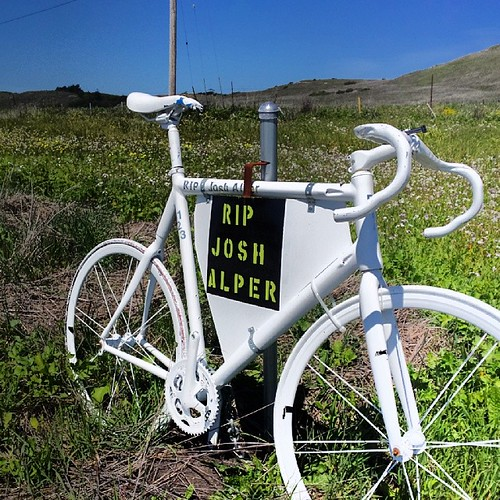 Josh Alper ghost bike Hwy 1 California