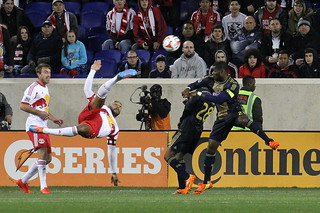 Thierry Henry volleys one wide of goal