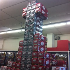 Feeling a lil uneasy about these cans of Dr. Pepper 10 feet in the air :/ #NotSafe