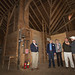 Howie Orr (far right) and Tom Wardell (far left) show Senator Kissel (center right), Representative Zawistowski (center) and Representative Simanski (center left) inside the barn at the Hilltop Farmstead.